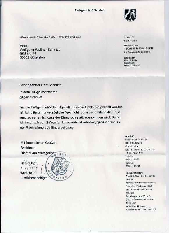 antwortschreiben des amtsgerichts gtersloh vom 27 april 2011 - Einspruch Steuerbescheid Muster